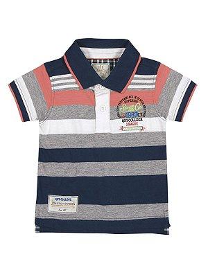 Camisa Polo Manga Curta em Meia Malha Listrada Quimby