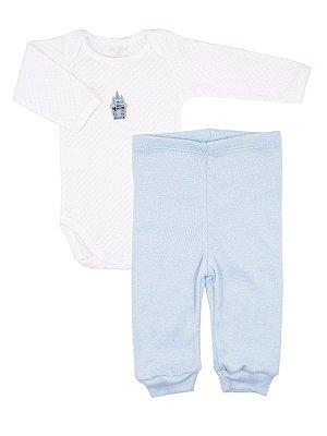 Conjunto Body e Calça em Algodão Empire Azul Claro Be Little