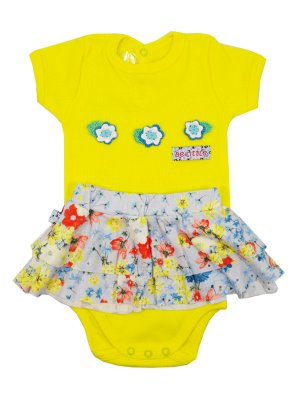 Conjunto Body Manga Curta e Saia Ohia Blosson Amarelo Be Little