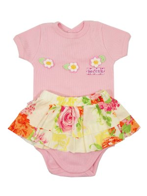 Conjunto Body Manga Curta e Saia Ohia Blosson Rosa Be Little