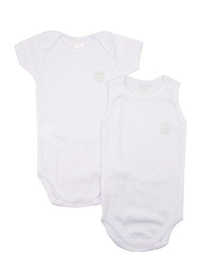 Conjunto 2 Bodies Regata e Manga Curta Maui Branco Be Little