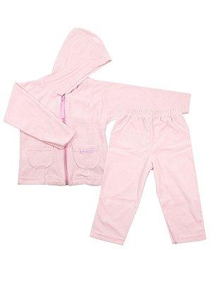 Conjunto em Plush Little Girl Rosa Casaco e Calça Be Little