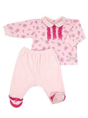 Conjunto em Plush Cute Bear Rosa Casaco e Calça Be Little