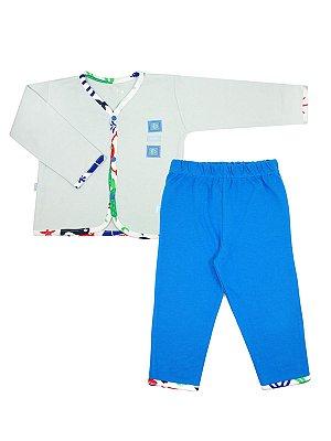 Pijama Diving Azul em Algodão Be Little