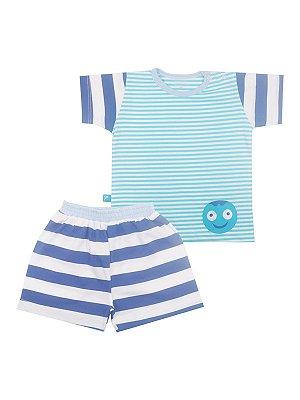 Pijama em Meia Malha Camiseta e Bermuda Octo Be Little