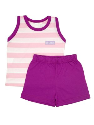 Pijama em Malha Regata e Shorts Navy Uva Be Little