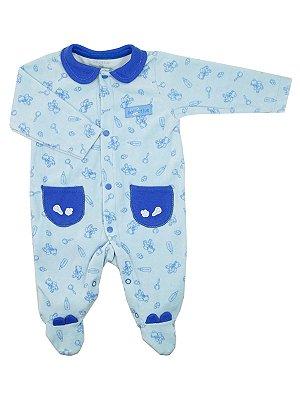 Macacão em Plush Twins Bear Azul Be Little