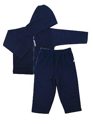 Conjunto em Micro Soft Be Boy Azul Marinho Casaco e Calça Be Little