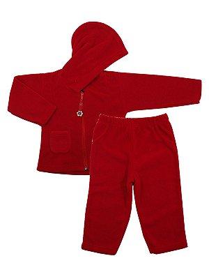 Conjunto em Micro Soft Be Girl Vermelho Casaco e Calça Be Little