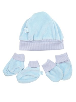 Kit Luva Pantufa e Gorro Velour Azul  Be Little