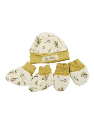 Kit Luva Pantufa e Gorro Bear Creme Be Little