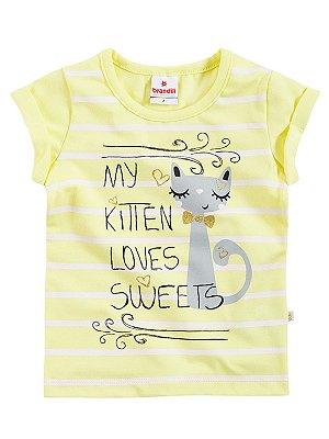 Blusa em Algodão My Kitten Loves Sweets Brandili