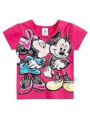 Blusa em Cotton Mickey e Minnie Manga Curta Brandili