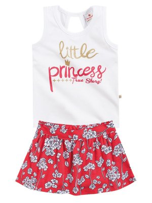 Conjunto em Cotton Regata e Short Saia Little Princess Brandili