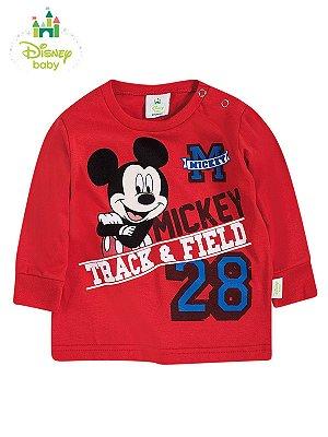 Camiseta em Meia Malha Manga Longa Mickey Track Field Brandili
