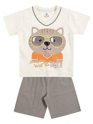 Pijama em Malha Camiseta Manga Curta e Bermuda Tiger Brandili