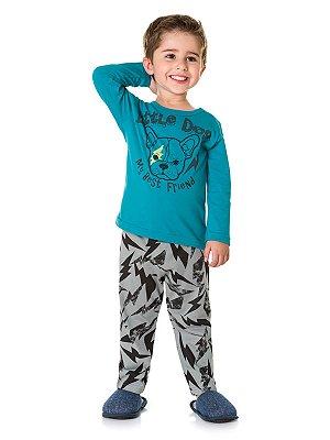 Pijama em Meia Malha Camiseta Manga Longa e Calça Little Dog Brandili