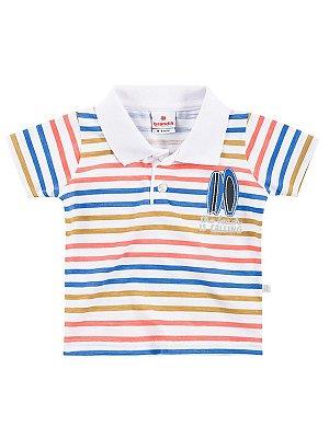 Camisa Polo em Malha Manga Curta Surf Brandili