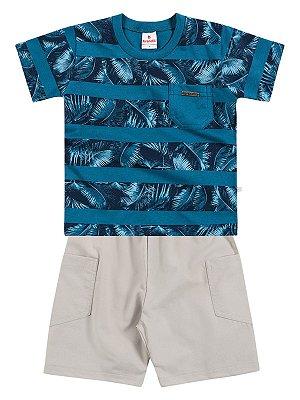 Conjunto Camiseta em Malha e Bermuda Palmeiras Brandili