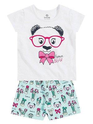 Pijama em Malha Blusa e Shorts Fashion Bear Brandili