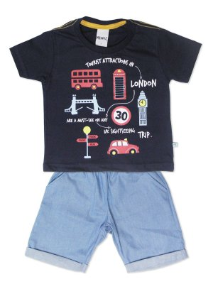 Conjunto Camiseta Manga Curta em Malha e Bermuda London Minore