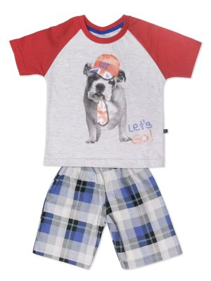 Conjunto Camiseta manga Curta Let`s Go e Bermuda Xadrez em Malha Minore