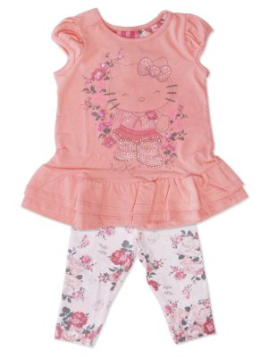 Conjunto Blusa e Legging em Cotton Floral Hello Kitty