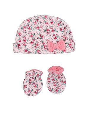 Kit Touca e Luva em Plush Floral Rosa Sonho Meu