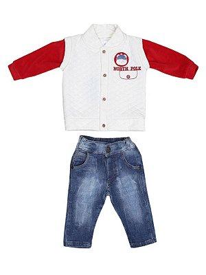 Conjunto North Pole Casaco Matelassê e Calça Jeans Bebê Menino Sonho Meu