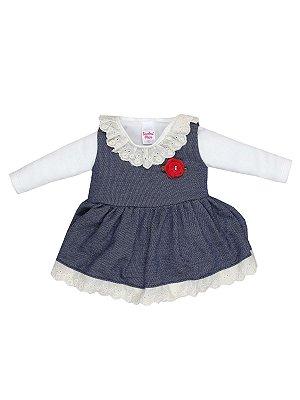 Conjunto Body em Plush e Vestido Bebê Menina Sonho Meu