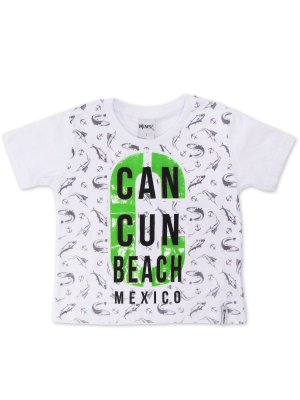 Camiseta em Meia Malha Skate Cancun Branca Minore