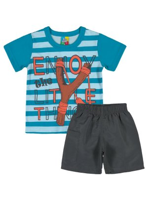 Conjunto Camiseta e Bermuda Bee Loop Enjoy Azul