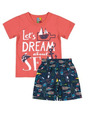Conjunto Camiseta e Bermuda Bee Loop Sea Coral