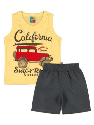 Conjunto Bee Loop Regata e Bermuda California Amarelo