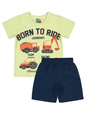 Conjunto Bee Loop Camiseta e Bermuda Born to Ride Verde