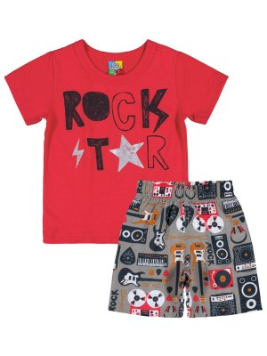 Conjunto Bee Loop Camiseta e Bermuda Born to Rock Vermelho