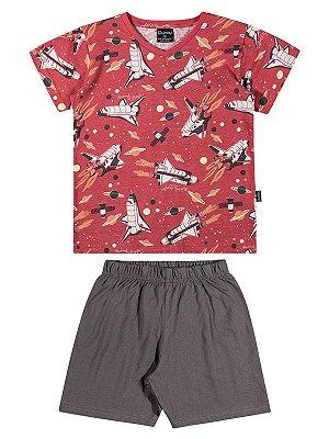 Pijama Quimby Curto Menino Space Vermelho