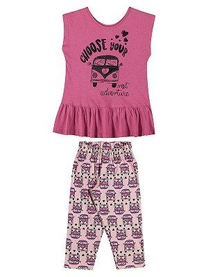 Conjunto Quimby Menina Adventure Pink