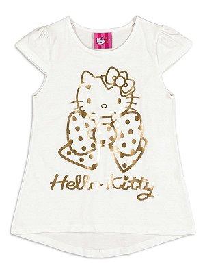 Blusa em Meia Malha Natural Hello Kitty