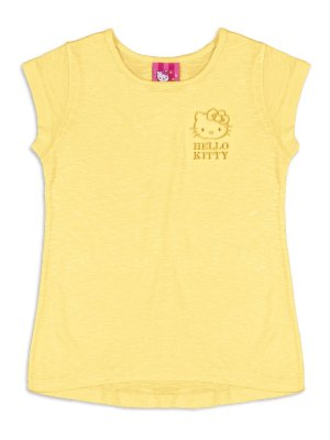 Blusa em Malha Viscose Amarelo Hello Kitty