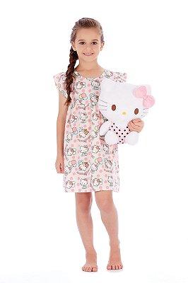 Camisola Manga Curta em Malha Rosa Hello Kitty