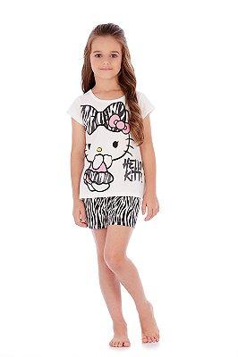 Pijama Blusa e Short em Malha Zebra Hello Kitty
