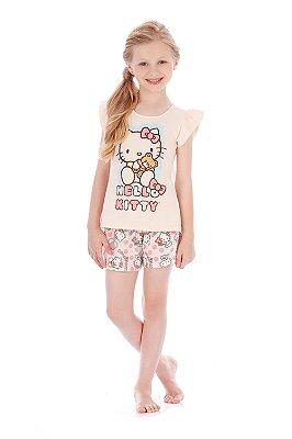Pijama Blusa e Short em Malha Ursinho Rosa Hello Kitty