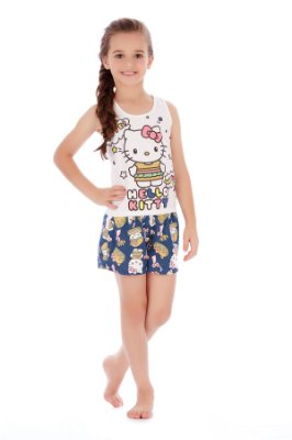 Pijama Regata e Short Malha Cute Natural Hello Kitty