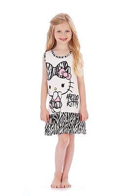 Camisola Sem Manga em Malha Zebra Hello Kitty