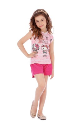 Blusa Sem Manga Look of the Day Rosa hello Kitty