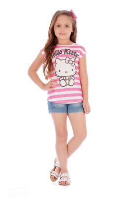 Blusa Manga Curta Malha Listras Pink Hello Kitty