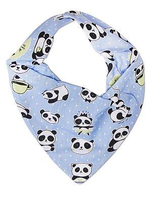 Babador Bandana Petit&Co Panda Azul Claro
