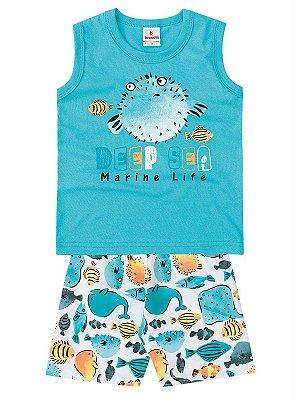 Conjunto Brandili Regata e Bermuda Deep Sea Azul