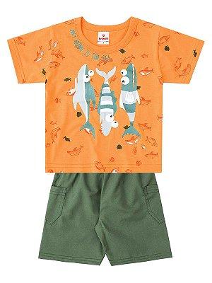 Conjunto Brandili Curto Camiseta e Bermuda Fish Laranja